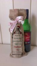 Personalized Santa List Wine Father Christmas Xmas Santa Sack / Stocking Bag Jute Hessian